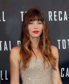 Jessica Biel ombré and blunt bangs!! Great combo!!