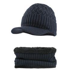 3b301c42ce189 Outdoor Winter Plus Velvet Knit Hat Scarf Set Earmuffs Cap Earmuffs
