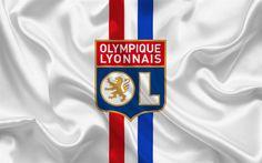 Download wallpapers Olympic Lyon, football club, Ligue 1, France, emblem on white silk, logo, football