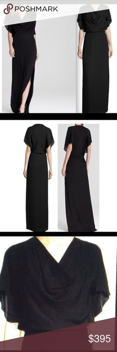 Halstpn Heritage Flutter-Sleeve Silk Gown Beautiful, flattering, graceful (and so comfortable) silk gown with long side slit. Bought this for a special occasion and never wore it. Length is 67 inches, can be shortened to fit your height. Halston Heritage Dresses Maxi