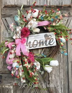 Home Wreath Spring Wreath Spring Floral Spring by BaBamWreaths
