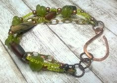 Green Primitive Bracelet - Recycled Glass Copper Bone Bracelet - Earthy Brown Green Patinated Bracelet - Handmade Jewelry Salakaappi by Salakaappi on Etsy