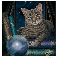 Fortune Teller Cat Card by Lisa Parker
