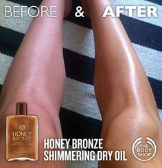 Before & After: The Body Shop Honey Bronze Shimmering Dry Oil. Give your skin an even, temporary bronzed look with a hint of shimmer with a lightweight body oil.