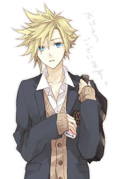 "Final Fantasy - Cloud Strife: The text says ""Ohayou gozaimasu."" which means ""Good morning"" :3"