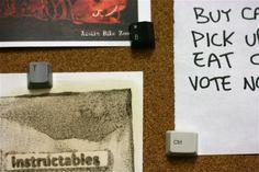 Picture of Keyboard Thumbtacks. Have an old Keyboard? Use keys and push pins too create thumbtacks for a meme board