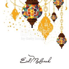 Eid Mubarak greeting card vector illustration. Muslim festival celebration poster, islamic holiday poster with hanging lamp, arabic mosque, calligraphy lettering. Eid Mubarak traditional holy holiday.
