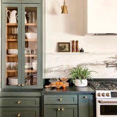 Condo Kitchen, Kitchen Reno, Kitchen Remodel, Kitchen Design, Green Kitchen, Glass Kitchen Cabinets, Green Cabinets, Bedford House, Painted China Cabinets