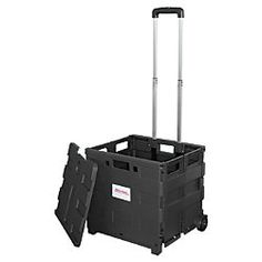 Office Depot Brand Mobile Folding Cart With Lid 16 H X 18 W 15 D Black Item 987304 Rolling Bags For Teachersstorage