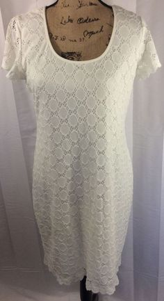 Ronni Nicole NEW Solid Ivory Size 12 Crochet Lace Sheath Dress #RonniNicole #Sheath #Cocktail