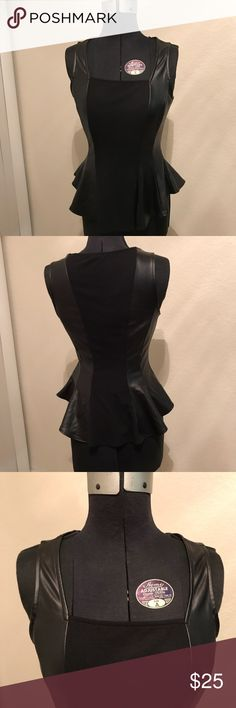 Black Knit & Faux Leather Peplum Top Square neck, peplum Tops Blouses