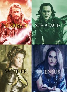 #Marvel #Thor #HarryPotter #crossover . Thor as Gryffindor, Loki as Slytherin, Frigga as Hufflepuff and Jane as Ravenclaw