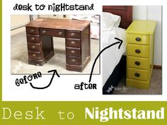 6 Creative Ways To Repurpose Furniture   Momtastic.com Beat up desk to matching nightstands! This is where I NEED a router!