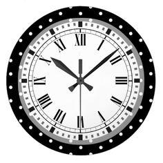 Elegant Black and White Retro Polka Dots Large Clock