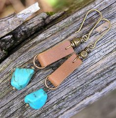 turquoise gemstone and leather earrings. by PinkPoppyStudio, $22.00