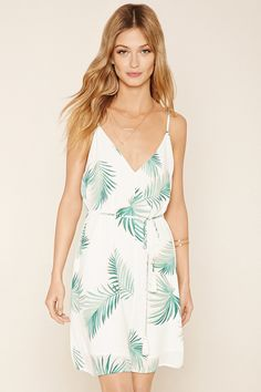 Forever 21 Contemporary - A woven palm leaf print dress with cami straps, a strappy V-cutout back, a V-neckline, and a removable self-tie sash belt with tassel ends.