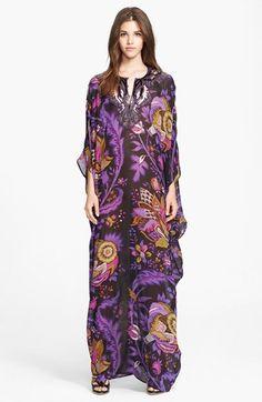 Roberto Cavalli Funky Floral Print Silk Caftan