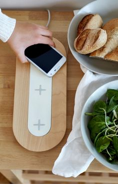 NORDMÄRKE triple pad for wireless charging, white or birch ($65)