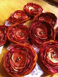 Red apple and orange fabric flower barrettes BRIDAL PARTY