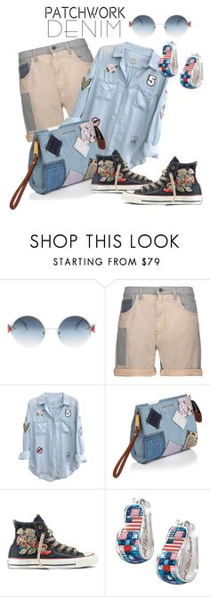 """""""patched denim"""" by daincyng ❤ liked on Polyvore featuring Fendi, McQ by Alexander McQueen, Rails, Marc Jacobs, Converse, The Bradford Exchange, patchwork and thebestpolyvorians"""