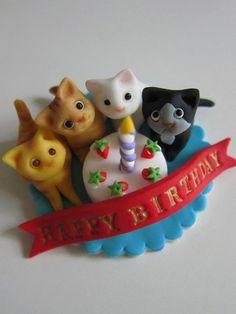Kittens & Candle Cake Birthday Topper. $25.00, via Etsy.
