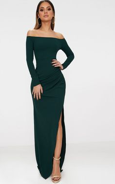 Emerald Green Wrap Over Long Sleeve Bardot Maxi Dress. Head online and shop this season's range of maxi dresses at PrettyLittleThing. Express delivery & student discount available. Green Formal Dresses, Formal Dresses With Sleeves, Formal Dresses For Women, Maxi Dress With Sleeves, Sexy Dresses, Strapless Dress Formal, Dress Outfits, Long Sleeve Formal Dress, Green Dress Outfit