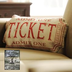 Now is the perfect time to get your Media Room decorated and ready for use! With cold weather coming, your family will probably be spending more time inside. Plus, it's football season! Our Red Movie Ticket Accent Pillow, featured in the September issue of At Home: Memphis & Mid South, is the perfect accessory.
