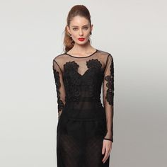 Black Lenox Hide And Seek Lace Blouse