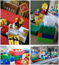 Lego Decorations using duplo blocks for the name and utensil holders