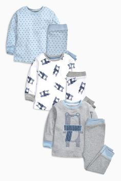 Buy Blue Bear And Star Pyjamas Three Pack (9mths-8yrs) from the Next UK online shop