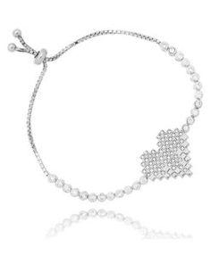 pulseira coracao prata 925 joia cravejada
