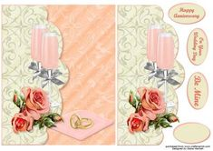 Champagne Roses Faux Envelope on Craftsuprint designed by Diane Hannah - Champagne Roses Faux Envelope card. A fabulous two tone card with dimensional elements. Suitable for a wedding, anniversary, or just to say I love you. Great for a wedding proposal and even a Valentines Day card. The sheet has decoupage and text tags included. - Now available for download!