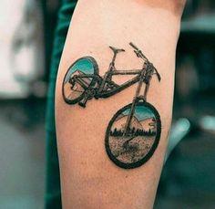 Coolest bike tattoo I've ever seen! - Coolest bike tattoo I've ever seen! Cycling Tattoo, Bicycle Tattoo, Bike Tattoos, Sleeve Tattoos, Dirt Bike Tattoo, Unique Tattoos, New Tattoos, Tattoos For Guys, Tattoos For Women