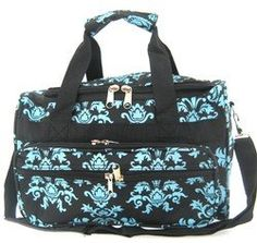 Small 13 Little Girls Damask Print Duffle Dance Cheer Bag Black Blue Scarlettsbags