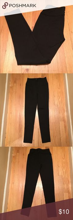 F21 black leggings Black legging pants with seam up front and back. Super comfy. 72% polyester, 24% nylon, 4% spandex. Reasonable offers welcome! Forever 21 Pants Leggings