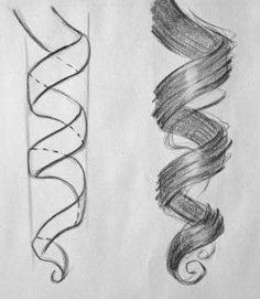 como aprender a dibujar cabello ondulado 2 Drawing Tips, Drawing Sketches, Cool Drawings, Pencil Drawings, Drawing Ideas, Drawing Drawing, Drawing Faces, Drawings Of Hair, Braid Drawing