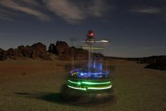 ESA's light-studded Rover Autonomy Testbed vehicle does a twirl during night testing in Tenerife, intended to simulate the low light environment of the lunar poles.The testbed, operated by a team from GMV in Spain, plus ESA's Heavy Duty Planetary Rover, overseen by ESA's planetary ro…