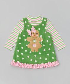 Another great find on #zulily! Green Gingerbread Layered Dress - Toddler & Girls #zulilyfinds