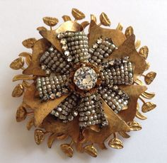 1 of 2: VINTAGE MIRIAM HASKELL SIGNED PEARL & CLEAR RHINESTONE BROOCH Mh9  $124