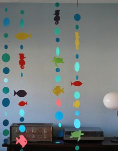 Mermaid Garland, Mermaid Decorations Mermaid Decoration,Mermaid Birthday Party, Mermaid Party, Mermaid Decor, Custom Parties by PartyAtYourDoor on Etsy * * * * * Each order includes 5 strands of beautifully colored bubbles, fish, sea turtles, and sea horses. This garland is perfect