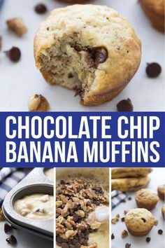 These easy banana muffins with chocolate chips are the best banana muffins I've ever tried! It doesn't matter if you make them big or mini, they're moist, easy to make, and delicious! There are even some options for making them healthy! #muffins #banana #chocolate #chocolatechip #breakfast #breakfastrecipes