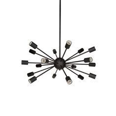 18 Light Sputnick Chandelier // Matte Black This quintessential, radial fixture is an homage to the late, great Italian designer and pioneer of the mid-century modern movement, Gino Sarfatti. The Sputnik Ceiling Chandelier, Black Chandelier, Modern Chandelier, Ceiling Lights, Chandeliers, Cool Light Fixtures, Bedroom Light Fixtures, Vintage Globe, Modern Bungalow