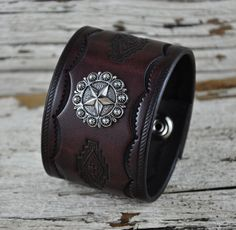 Southwestern Star Leather Cuff by Northernleather on Etsy