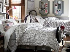 Room 405. pbteen has so many great ideas for dorm rooms. i need to remember this when it comes time to pick out bedding!! can't wait! #college