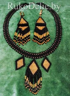 '' Comanche'' set: necklace and earrings tutorial from beads and glass