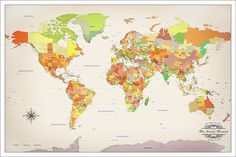 New ikea premiar world map picture with framecanvas large 55 x 78 push pin travel map anniversary travel map by watercolormaps gumiabroncs Gallery