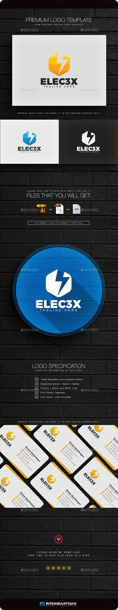 Electric Logo Template Vector EPS, AI Illustrator #logotype Download here: http://graphicriver.net/item/electric-logo/14455987?ref=ksioks