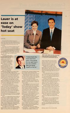 """Ohio University Today, Spring 1997. """"Lauer is at ease on 'Today' show hot seat."""" Matt Lauer left school minus a few credits to take a position. He returned to give the morning undergraduate commencement address in 1997 and also received his bachelor's degree. :: Ohio University Archives"""