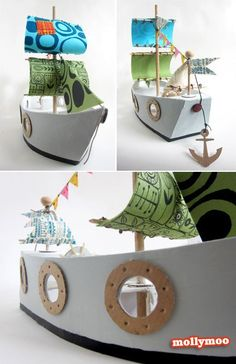 DIY Cardboard Pirate Ship (a girly one) for fun filled and imaginative play - made with board, glue, papier mache & scraps of fabric. See the step by step photos here http://mollymoo.ie/2012/04/make-it-more-piratey-mom/