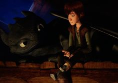 Hiccup and Toothless. Hiccup looks sad. :-(